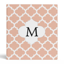 Personalized Monogram Quatrefoil Coral and White 3 Ring Binder