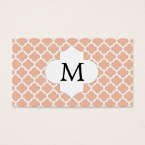 Personalized Monogram Quatrefoil Coral and White Business Card