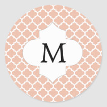 Personalized Monogram Quatrefoil Coral and White Classic Round Sticker