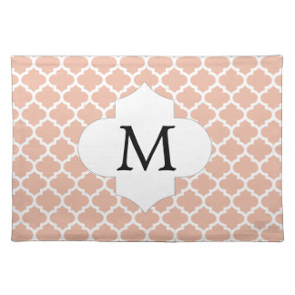 Personalized Monogram Quatrefoil Coral and White Cloth Placemat