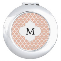 Personalized Monogram Quatrefoil Coral and White Compact Mirror