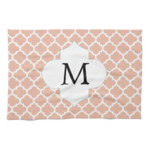 Personalized Monogram Quatrefoil Coral and White Hand Towels