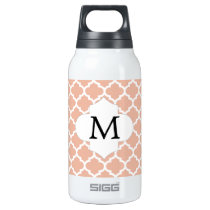 Personalized Monogram Quatrefoil Coral and White Insulated Water Bottle