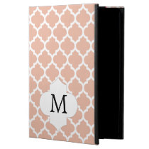 Personalized Monogram Quatrefoil Coral and White iPad Air Cover