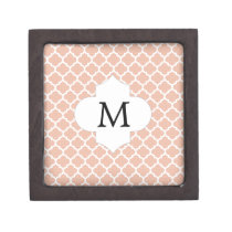 Personalized Monogram Quatrefoil Coral and White Jewelry Box