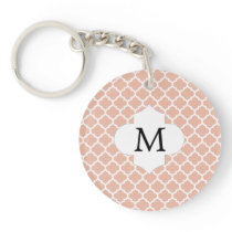 Personalized Monogram Quatrefoil Coral and White Keychain