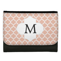 Personalized Monogram Quatrefoil Coral and White Leather Wallet For Women