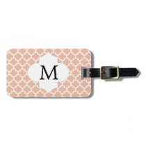 Personalized Monogram Quatrefoil Coral and White Luggage Tag