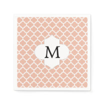 Personalized Monogram Quatrefoil Coral and White Napkin