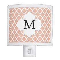 Personalized Monogram Quatrefoil Coral and White Night Light