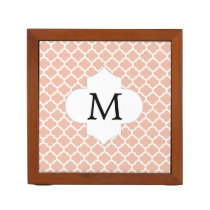 Personalized Monogram Quatrefoil Coral and White Pencil Holder