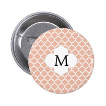 Personalized Monogram Quatrefoil Coral and White Pinback Button
