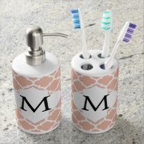 Personalized Monogram Quatrefoil Coral and White Soap Dispenser And Toothbrush Holder