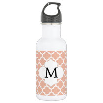 Personalized Monogram Quatrefoil Coral and White Water Bottle