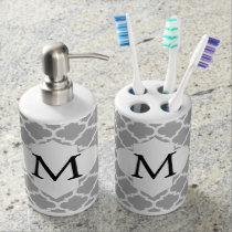Personalized Monogram Quatrefoil Gray and White Bathroom Set