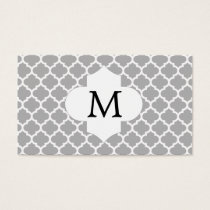 Personalized Monogram Quatrefoil Gray and White Business Card