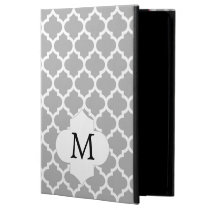 Personalized Monogram Quatrefoil Gray and White iPad Air Covers