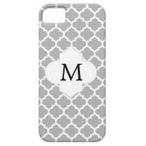 Personalized Monogram Quatrefoil Gray and White iPhone SE/5/5s Case