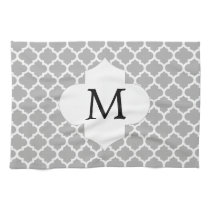 Personalized Monogram Quatrefoil Gray and White Kitchen Towel