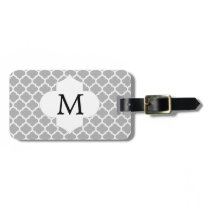 Personalized Monogram Quatrefoil Gray and White Luggage Tag