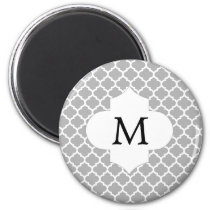 Personalized Monogram Quatrefoil Gray and White Magnet