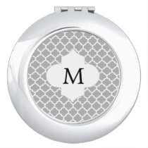 Personalized Monogram Quatrefoil Gray and White Mirror For Makeup