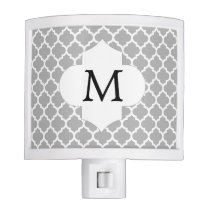 Personalized Monogram Quatrefoil Gray and White Night Light