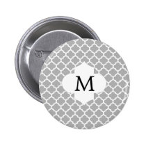 Personalized Monogram Quatrefoil Gray and White Pinback Button