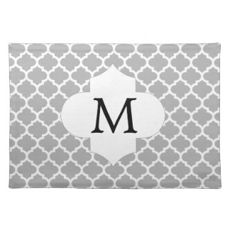 Personalized Monogram Quatrefoil Gray and White Placemat