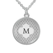 Personalized Monogram Quatrefoil Gray and White Sterling Silver Necklace
