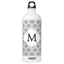 Personalized Monogram Quatrefoil Gray and White Water Bottle