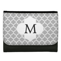Personalized Monogram Quatrefoil Gray and White Women's Wallets