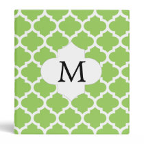 Personalized Monogram Quatrefoil green and White 3 Ring Binder
