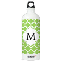Personalized Monogram Quatrefoil green and White Aluminum Water Bottle