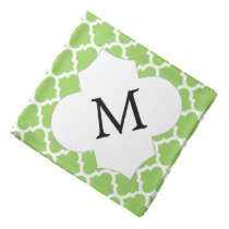 Personalized Monogram Quatrefoil green and White Bandana