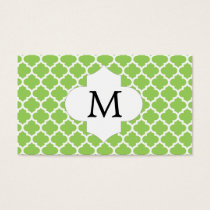Personalized Monogram Quatrefoil green and White Business Card