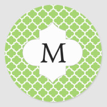 Personalized Monogram Quatrefoil green and White Classic Round Sticker