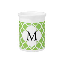 Personalized Monogram Quatrefoil green and White Drink Pitcher