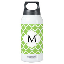 Personalized Monogram Quatrefoil green and White Insulated Water Bottle