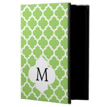Personalized Monogram Quatrefoil green and White iPad Air Cases