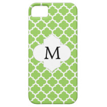Personalized Monogram Quatrefoil green and White iPhone SE/5/5s Case