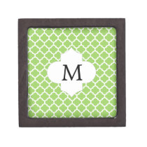 Personalized Monogram Quatrefoil green and White Jewelry Box