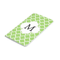 Personalized Monogram Quatrefoil green and White Journal