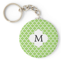 Personalized Monogram Quatrefoil green and White Keychain