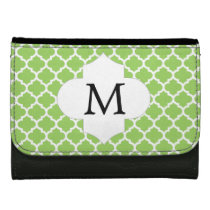 Personalized Monogram Quatrefoil green and White Leather Wallet For Women