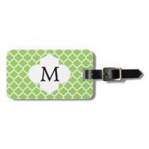Personalized Monogram Quatrefoil green and White Luggage Tag
