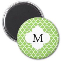 Personalized Monogram Quatrefoil green and White Magnet