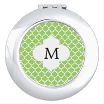 Personalized Monogram Quatrefoil green and White Mirror For Makeup