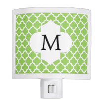 Personalized Monogram Quatrefoil green and White Night Light