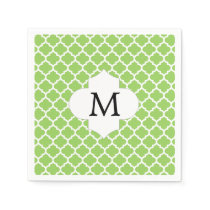 Personalized Monogram Quatrefoil green and White Paper Napkin